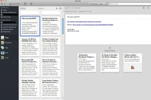 A sample screen of Evernote