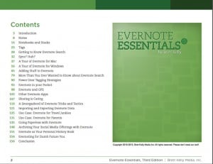 Evernote Essentials Contents Page